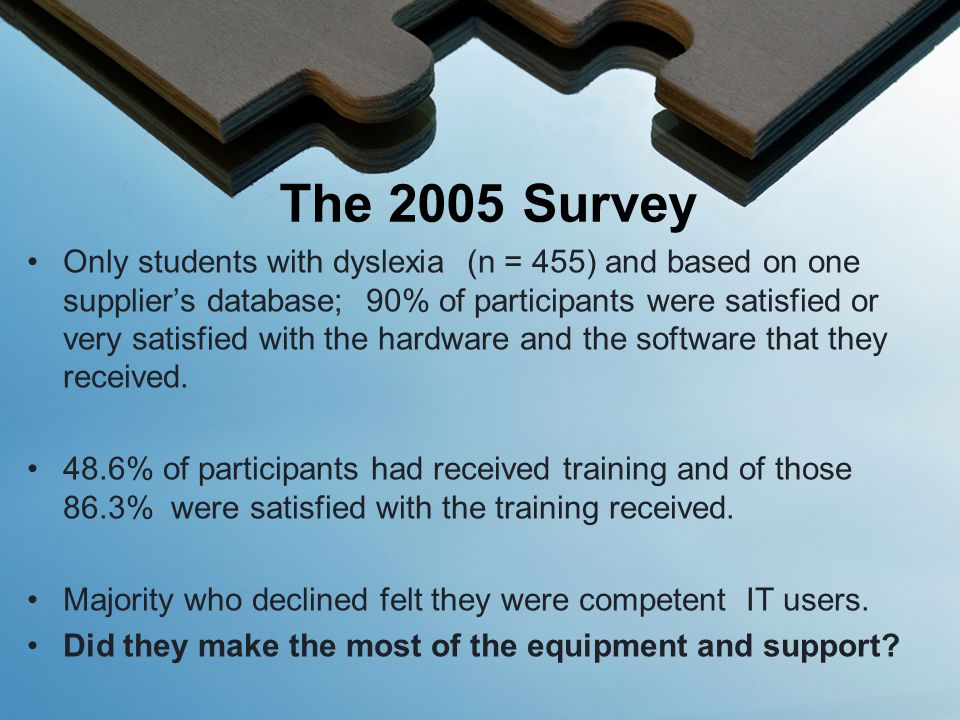 Only students with dyslexia (n = 455) and based on one supplier's database; 90% of participants were satisfied or very satisfied with the hardware and the software that they received.