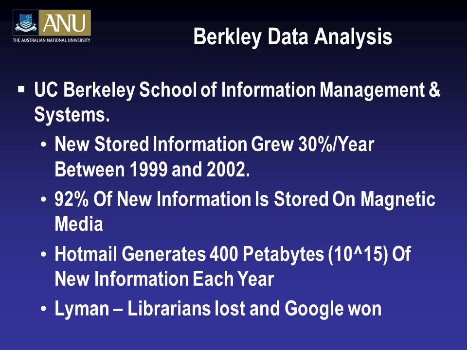 Berkley Data Analysis  UC Berkeley School of Information Management & Systems.