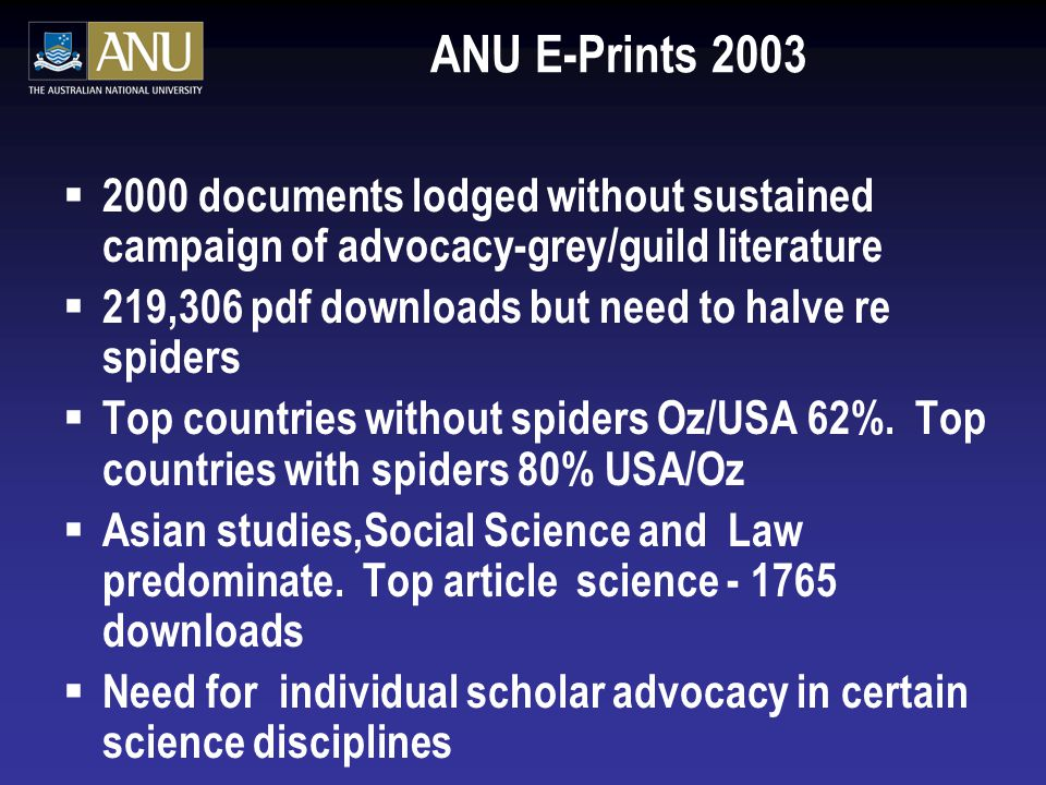 ANU E-Prints 2003  2000 documents lodged without sustained campaign of advocacy-grey/guild literature  219,306 pdf downloads but need to halve re spiders  Top countries without spiders Oz/USA 62%.