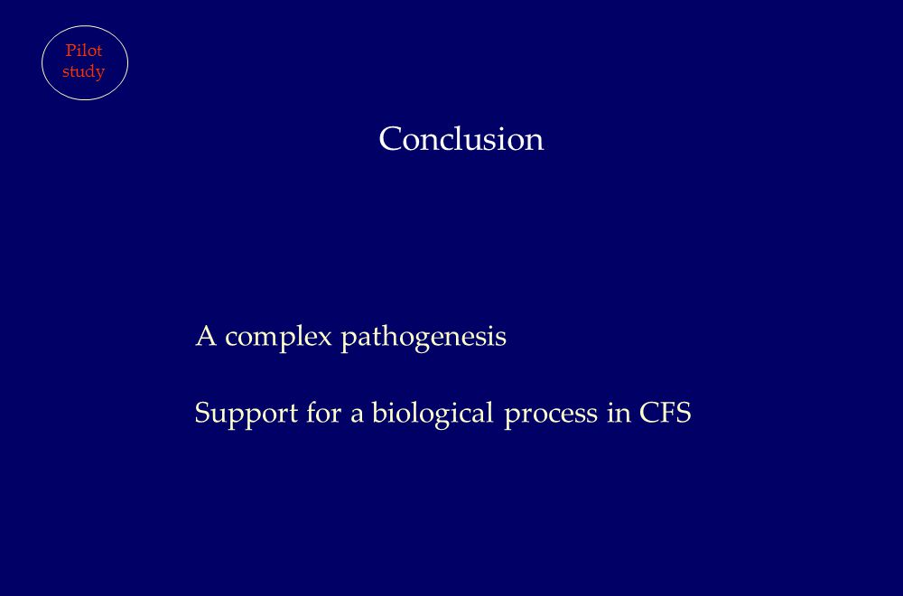A complex pathogenesis Support for a biological process in CFS Conclusion Pilot study