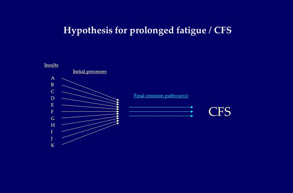 ABCDEFGHIJKABCDEFGHIJK Hypothesis for prolonged fatigue / CFS Final common pathway(s) Insults Initial processes CFS