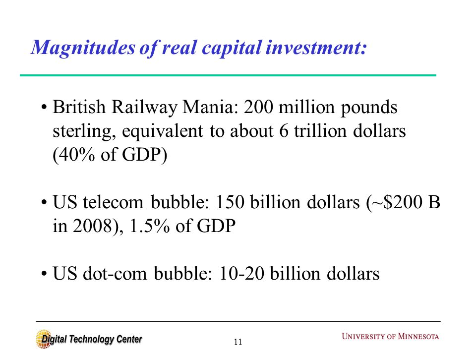 11 Magnitudes of real capital investment: British Railway Mania: 200 million pounds sterling, equivalent to about 6 trillion dollars (40% of GDP) US telecom bubble: 150 billion dollars (~$200 B in 2008), 1.5% of GDP US dot-com bubble: 10-20 billion dollars