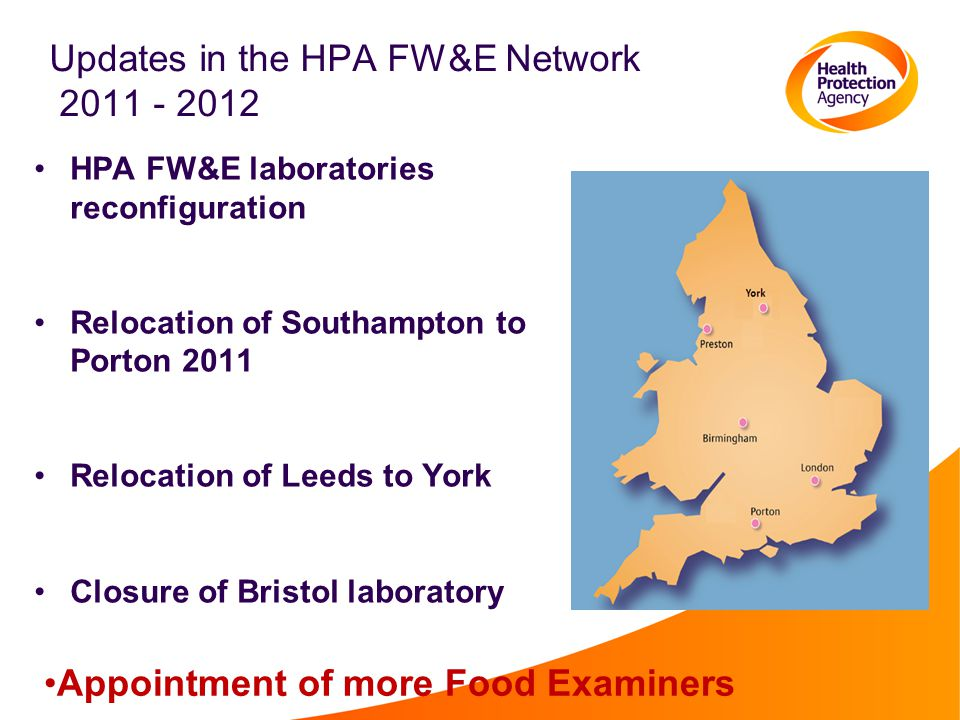 Updates in the HPA FW&E Network 2011 - 2012 HPA FW&E laboratories reconfiguration Relocation of Southampton to Porton 2011 Relocation of Leeds to York Closure of Bristol laboratory Appointment of more Food Examiners