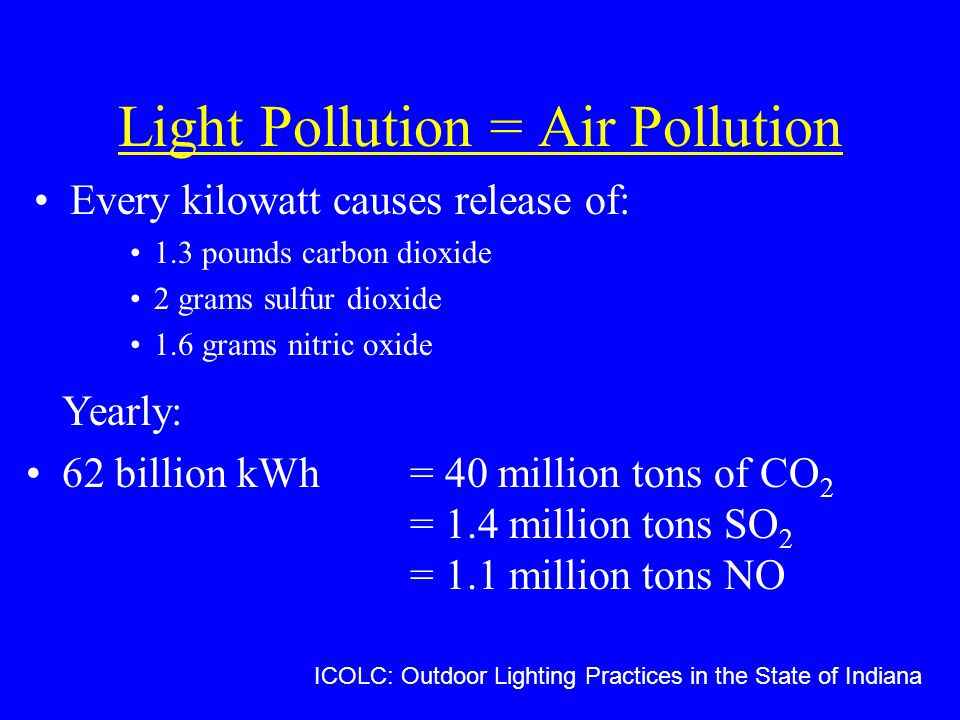 Light Pollution = Air Pollution Every kilowatt causes release of: 1.3 pounds carbon dioxide 2 grams sulfur dioxide 1.6 grams nitric oxide ICOLC: Outdoor Lighting Practices in the State of Indiana Yearly: 62 billion kWh = 40 million tons of CO 2 = 1.4 million tons SO 2 = 1.1 million tons NO