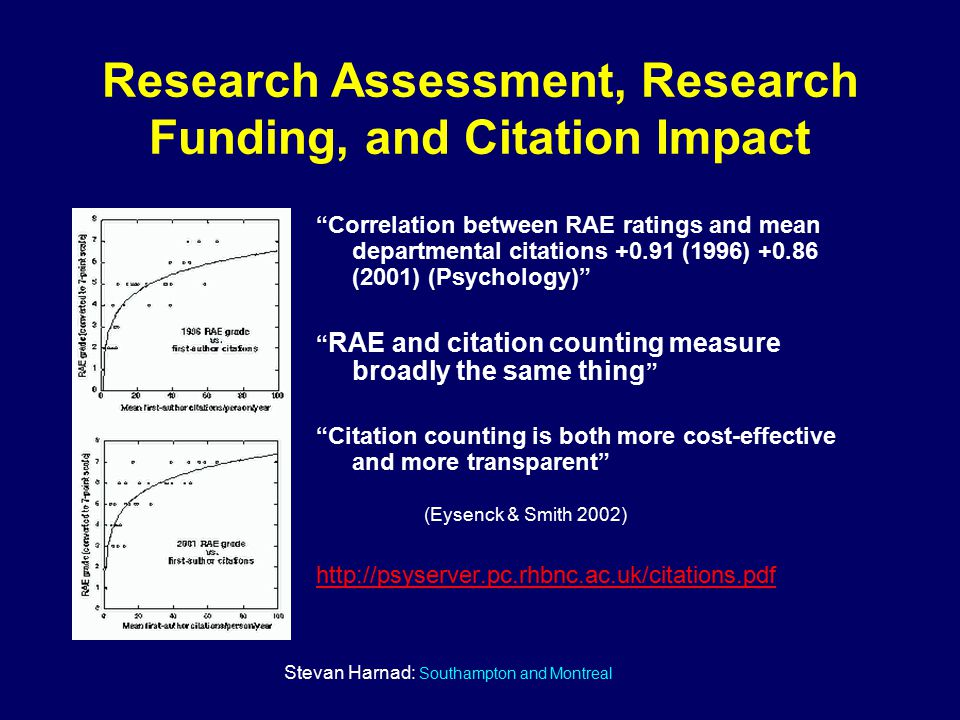 Stevan Harnad: Southampton and Montreal Research Assessment, Research Funding, and Citation Impact Correlation between RAE ratings and mean departmental citations +0.91 (1996) +0.86 (2001) (Psychology) RAE and citation counting measure broadly the same thing Citation counting is both more cost-effective and more transparent (Eysenck & Smith 2002) http://psyserver.pc.rhbnc.ac.uk/citations.pdf