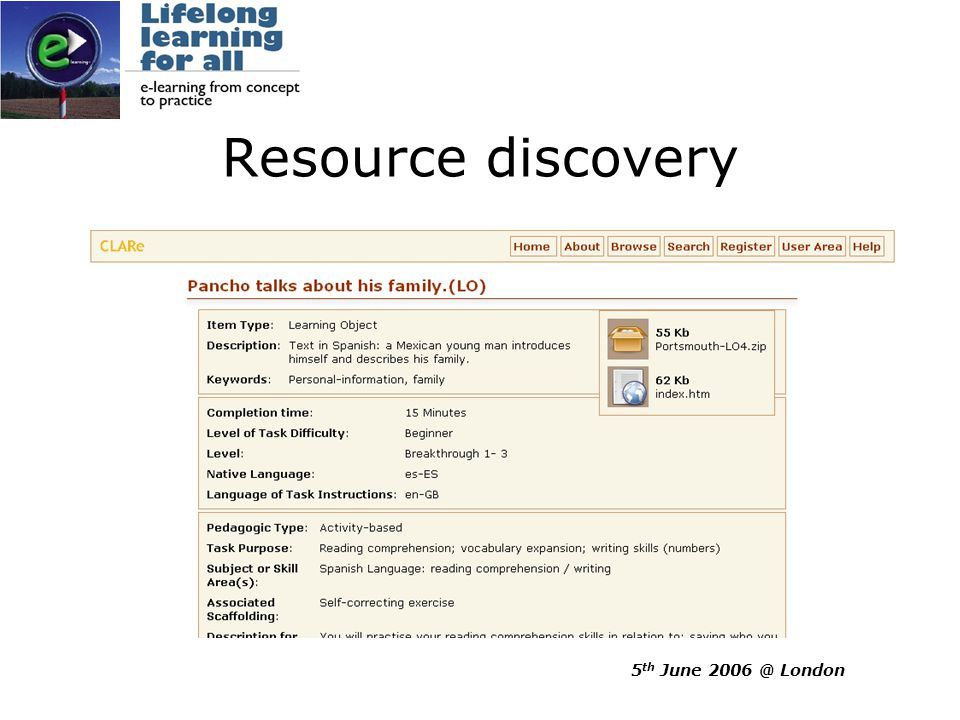5 th June 2006 @ London Learning object description 1.2 ☼ Title of learning objectGetting the most out of dictionariesThis is the only title field.