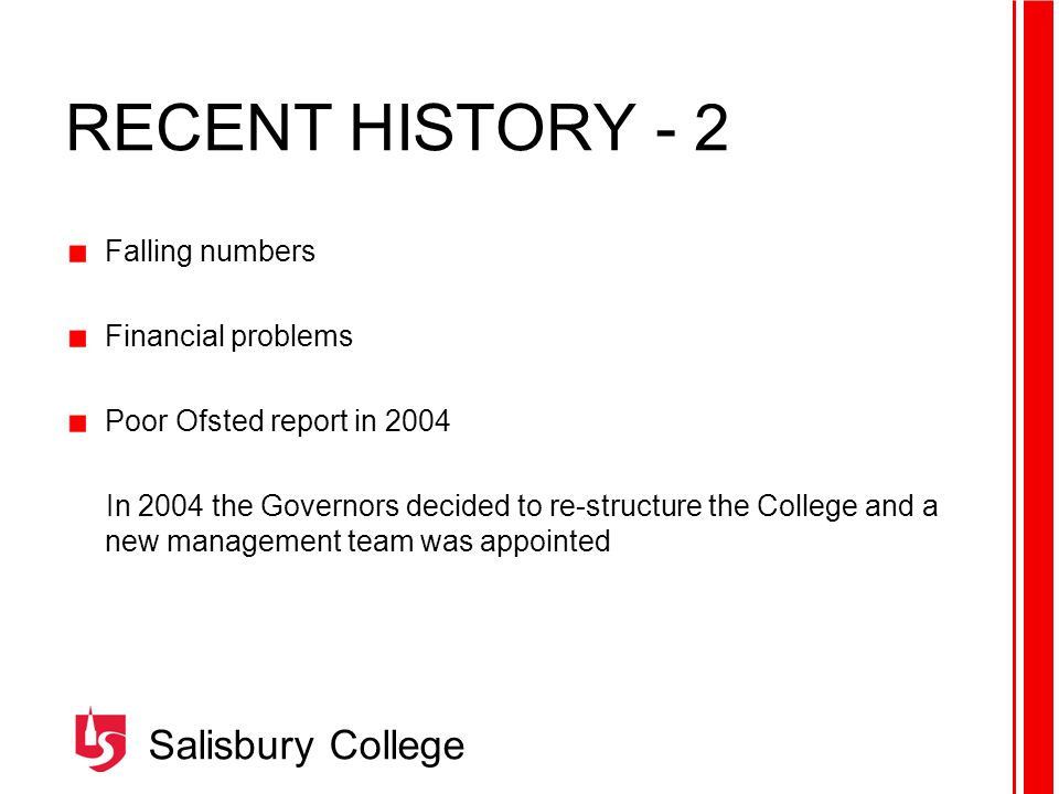 Salisbury College STRATEGIC PLAN 2005 - 2008 VISION Excellence in Learning MISSION To inspire and support all students to develop their full potential, through an excellent and enjoyable learning experience VALUES As a service provider and an employer the College values: Being integral to the social, cultural and economic development of our local communities Fostering and promoting continual quality improvement Supporting the needs of the individual Respecting diversity Encouraging innovation, enterprise and creativity Providing clear and effective communication.