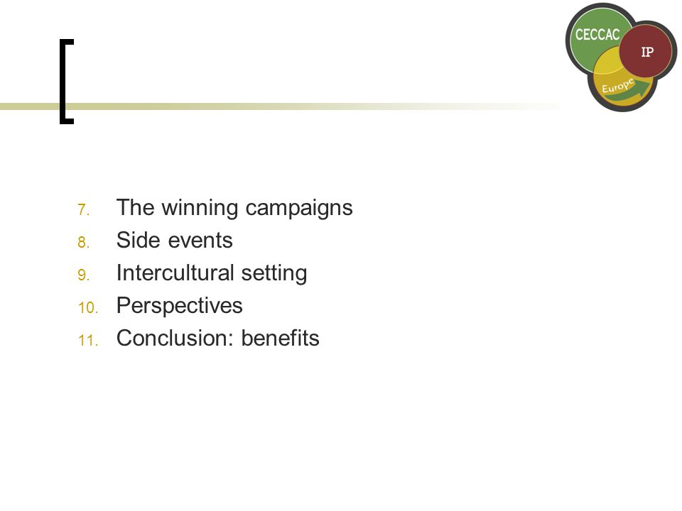 7. The winning campaigns 8. Side events 9. Intercultural setting 10.