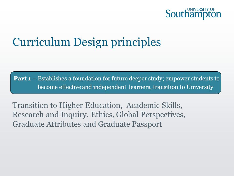 Part 1 – Establishes a foundation for future deeper study; empower students to become effective and independent learners, transition to University Curriculum Design principles Transition to Higher Education, Academic Skills, Research and Inquiry, Ethics, Global Perspectives, Graduate Attributes and Graduate Passport