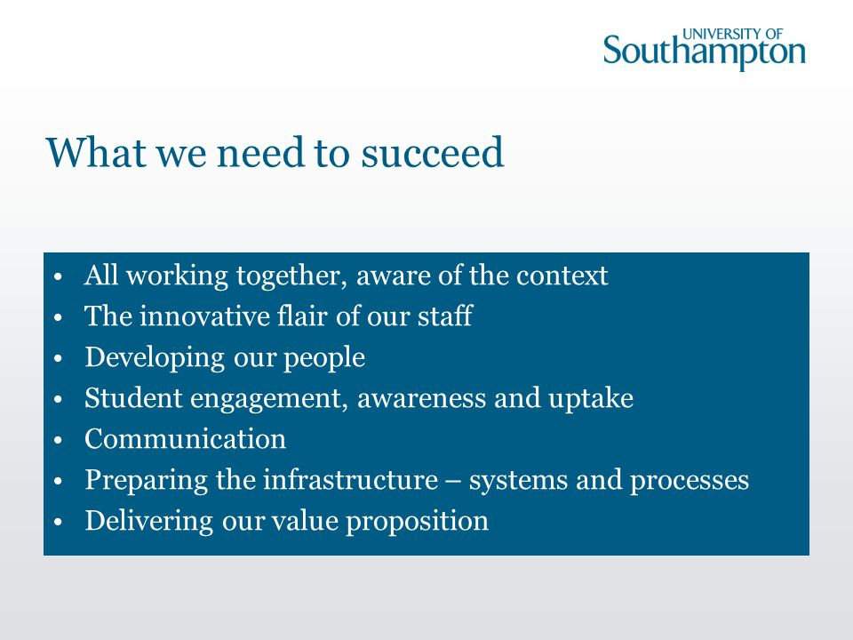 What we need to succeed All working together, aware of the context The innovative flair of our staff Developing our people Student engagement, awareness and uptake Communication Preparing the infrastructure – systems and processes Delivering our value proposition