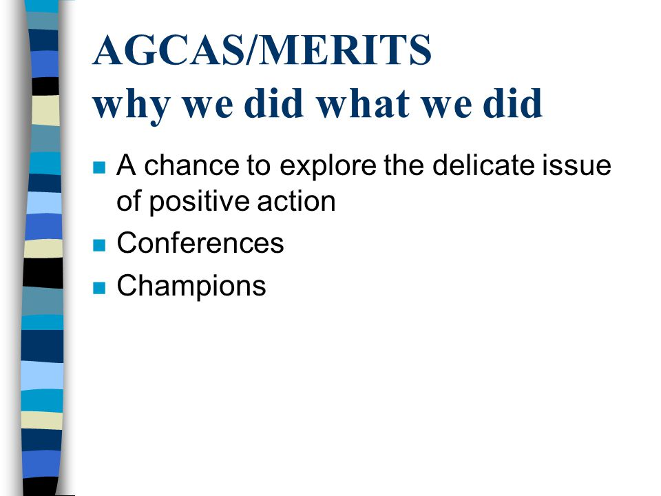 AGCAS/MERITS why we did what we did n A chance to explore the delicate issue of positive action n Conferences n Champions