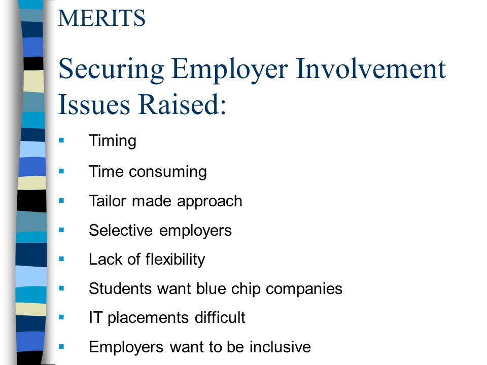 MERITS Securing Employer Involvement Issues Raised:  Timing  Time consuming  Tailor made approach  Selective employers  Lack of flexibility  Students want blue chip companies  IT placements difficult  Employers want to be inclusive