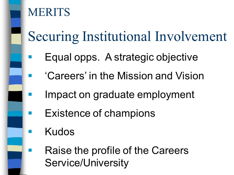 MERITS Securing Institutional Involvement  Equal opps.