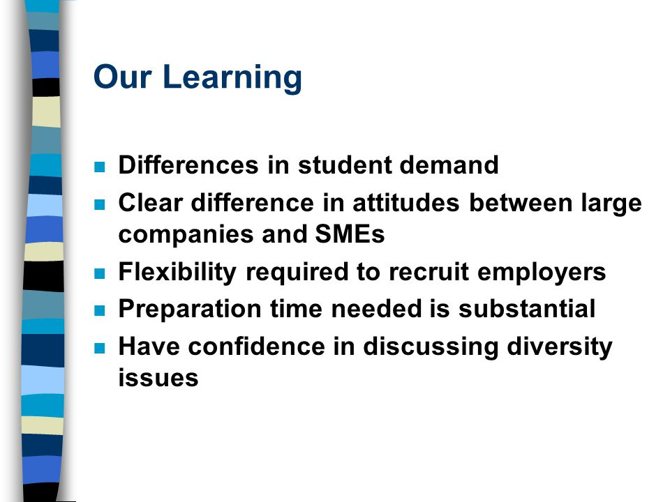 Our Learning n Differences in student demand n Clear difference in attitudes between large companies and SMEs n Flexibility required to recruit employers n Preparation time needed is substantial n Have confidence in discussing diversity issues