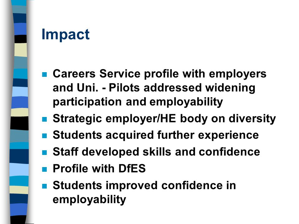 Impact n Careers Service profile with employers and Uni.