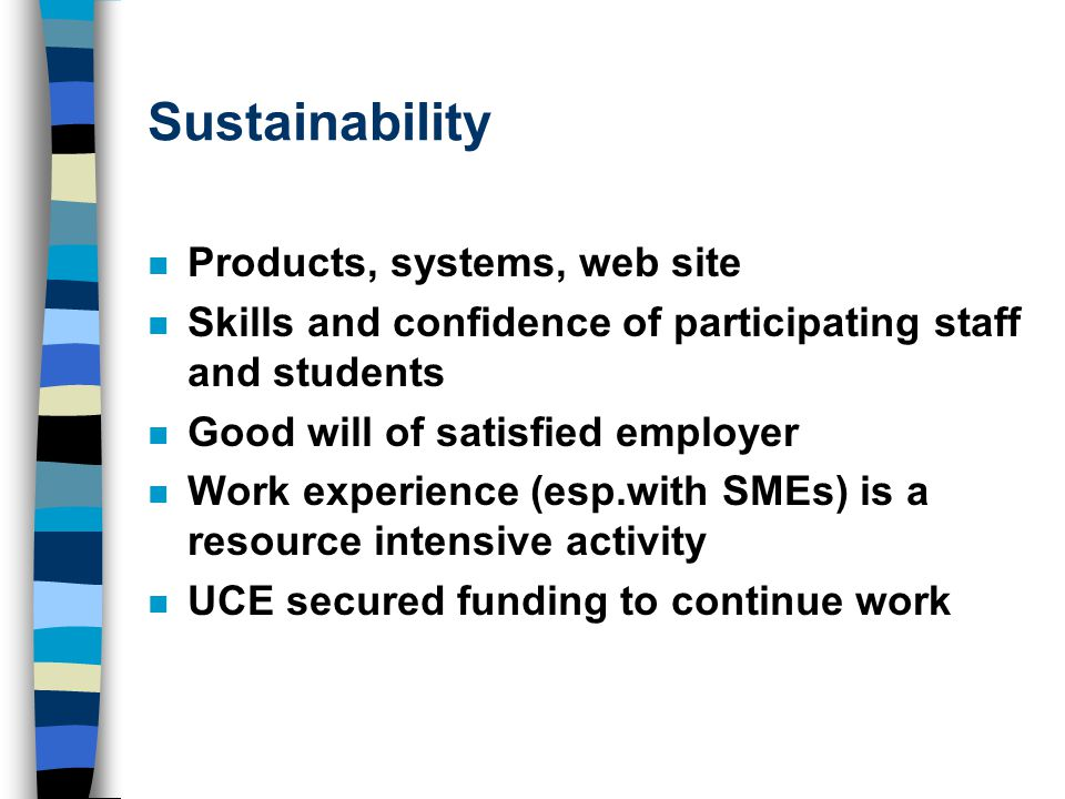 Sustainability n Products, systems, web site n Skills and confidence of participating staff and students n Good will of satisfied employer n Work experience (esp.with SMEs) is a resource intensive activity n UCE secured funding to continue work