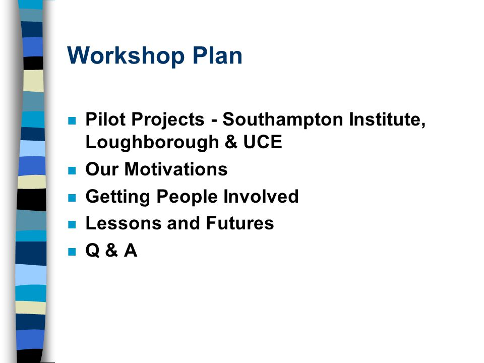 Workshop Plan n Pilot Projects - Southampton Institute, Loughborough & UCE n Our Motivations n Getting People Involved n Lessons and Futures n Q & A