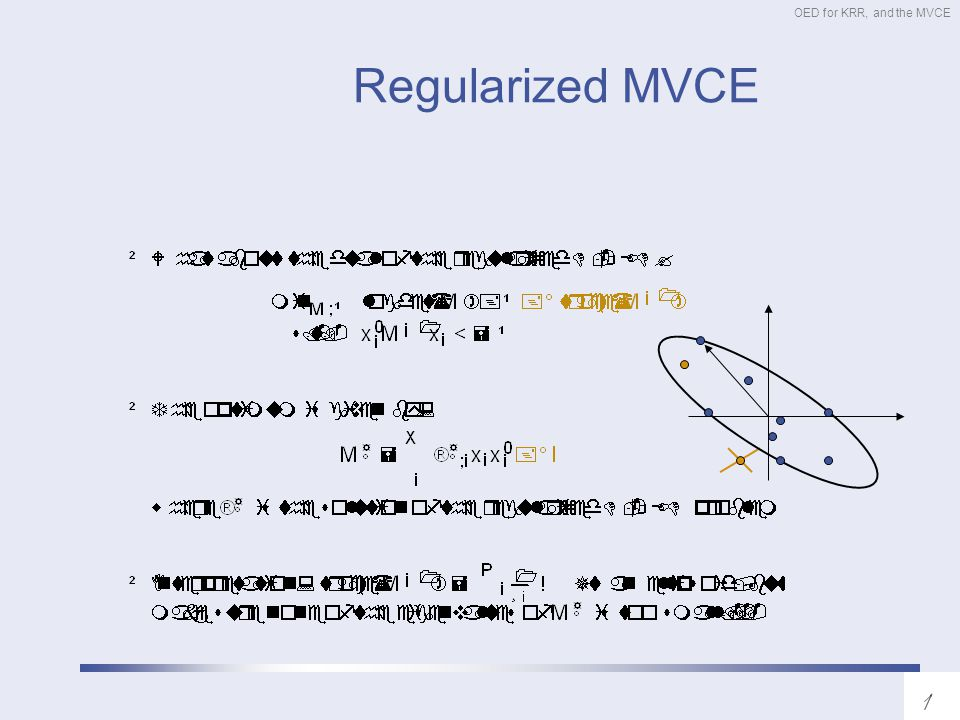 OED for KRR, and the MVCE Regularized MVCE
