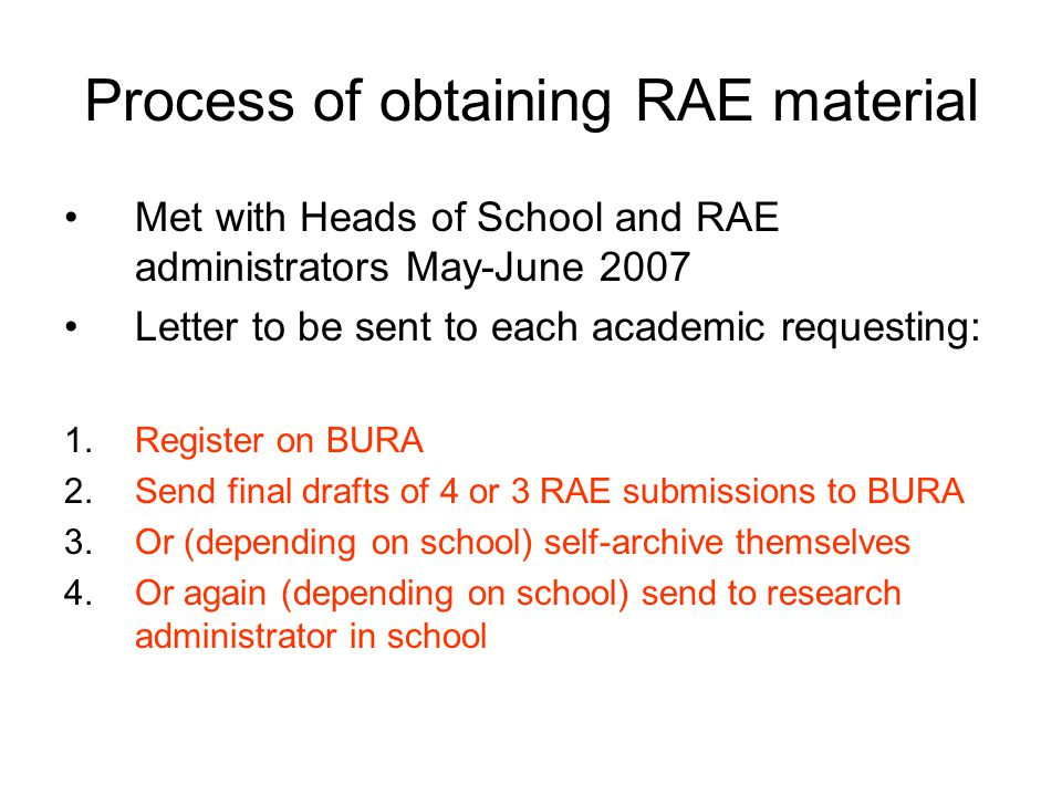 Process of obtaining RAE material Met with Heads of School and RAE administrators May-June 2007 Letter to be sent to each academic requesting: 1.Register on BURA 2.Send final drafts of 4 or 3 RAE submissions to BURA 3.Or (depending on school) self-archive themselves 4.Or again (depending on school) send to research administrator in school