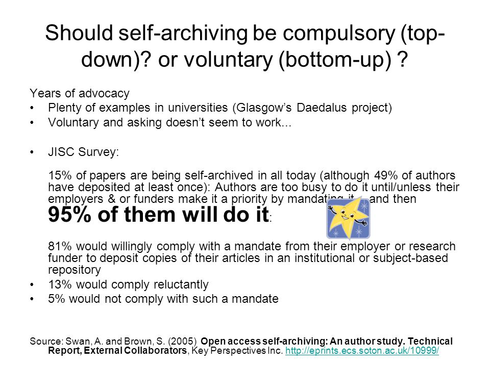 Should self-archiving be compulsory (top- down). or voluntary (bottom-up) .