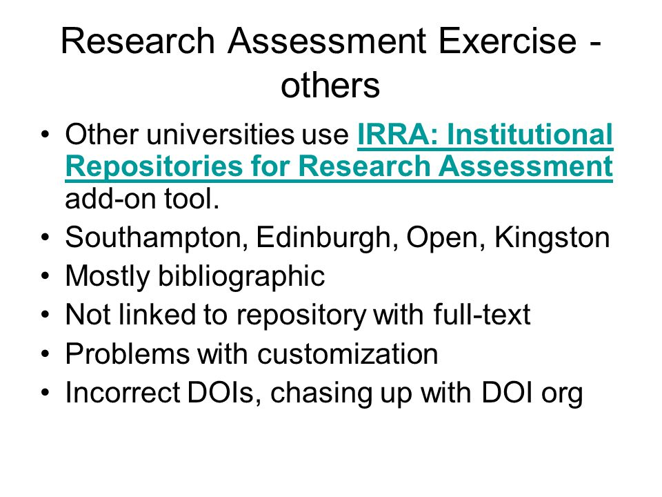 Upon thinking… Digital Object Identifiers (DOIs) need checking for RAE…