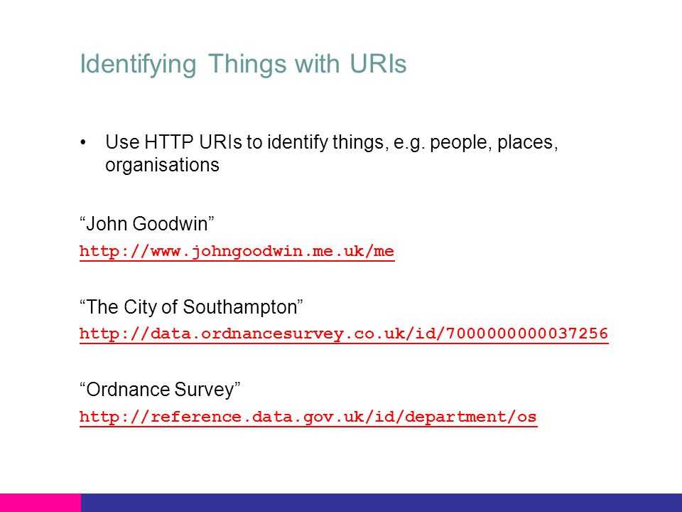 Identifying Things with URIs Use HTTP URIs to identify things, e.g.