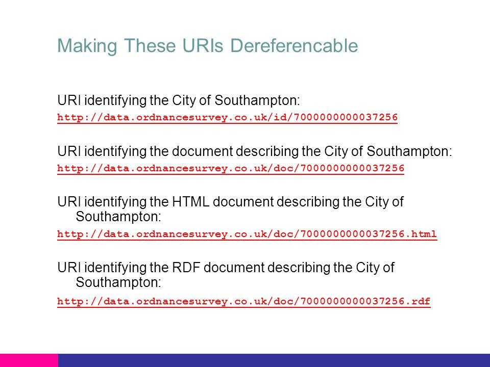 Making These URIs Dereferencable URI identifying the City of Southampton: http://data.ordnancesurvey.co.uk/id/7000000000037256 URI identifying the document describing the City of Southampton: http://data.ordnancesurvey.co.uk/doc/7000000000037256 URI identifying the HTML document describing the City of Southampton: http://data.ordnancesurvey.co.uk/doc/7000000000037256.html URI identifying the RDF document describing the City of Southampton: http://data.ordnancesurvey.co.uk/doc/7000000000037256.rdf