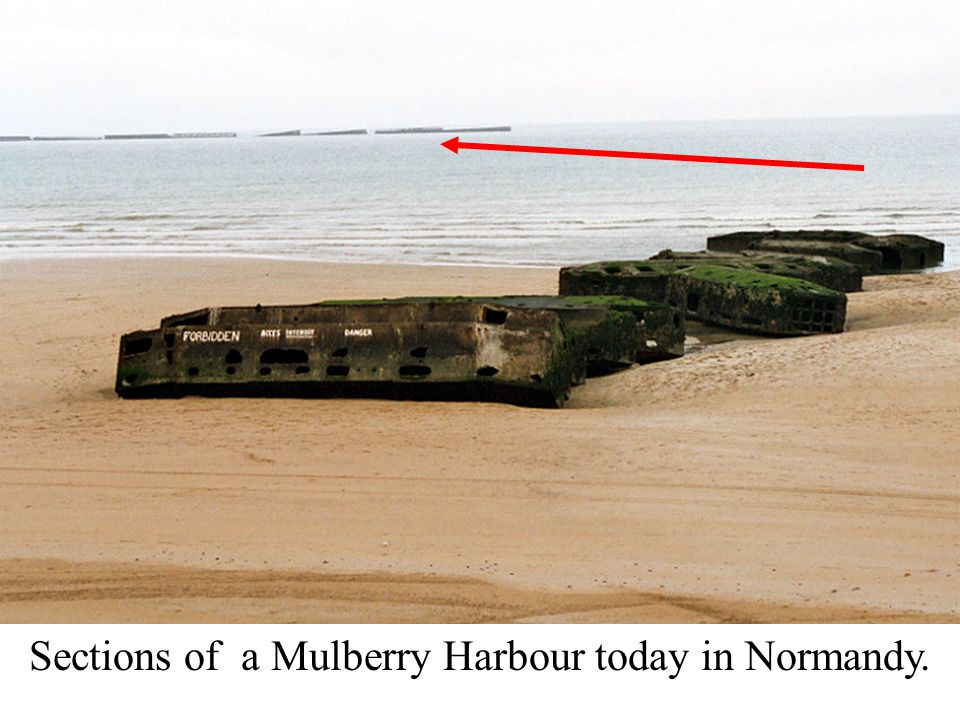 Sections of a Mulberry Harbour today in Normandy.
