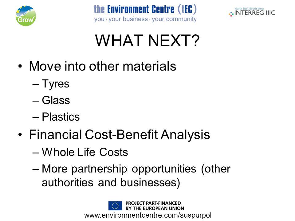 www.environmentcentre.com/suspurpol WHAT NEXT.