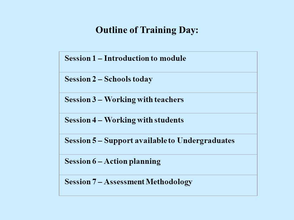 Outline of Training Day: Session 1 – Introduction to module Session 2 – Schools today Session 3 – Working with teachers Session 4 – Working with stude
