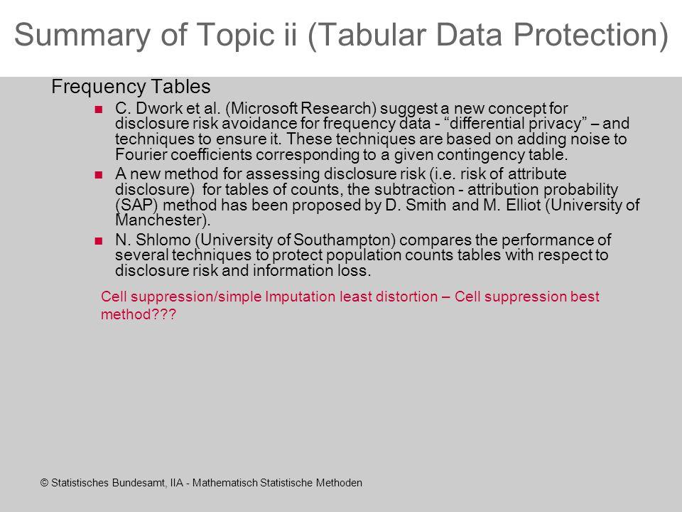 © Statistisches Bundesamt, IIA - Mathematisch Statistische Methoden Summary of Topic ii (Tabular Data Protection) Frequency Tables C.