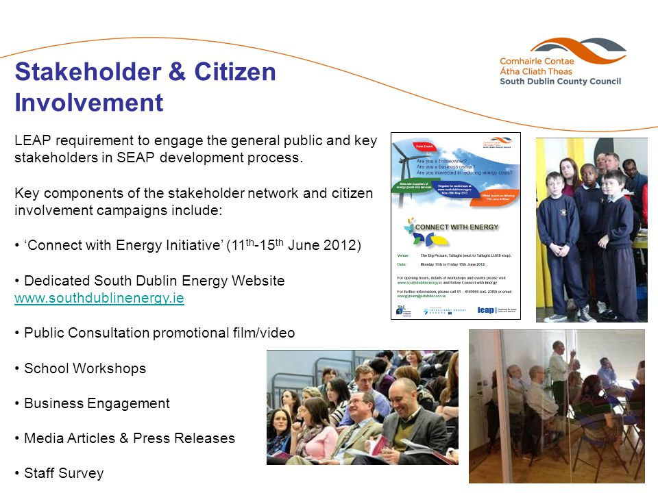 Stakeholder & Citizen Involvement LEAP requirement to engage the general public and key stakeholders in SEAP development process.