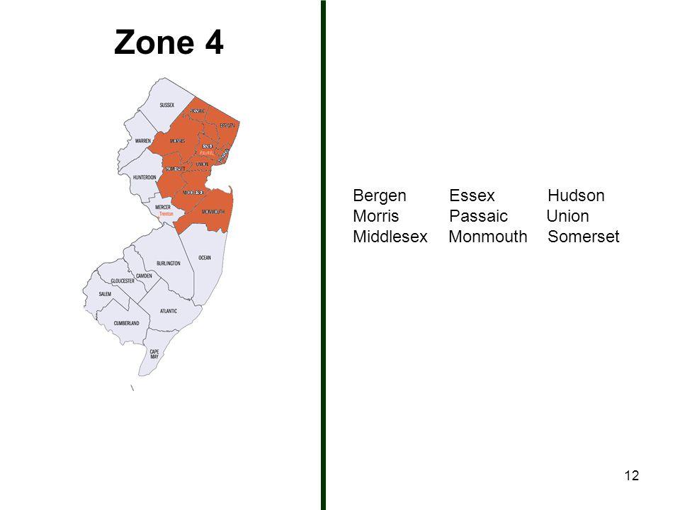 12 Zone 4 Bergen Essex Hudson Morris Passaic Union Middlesex Monmouth Somerset