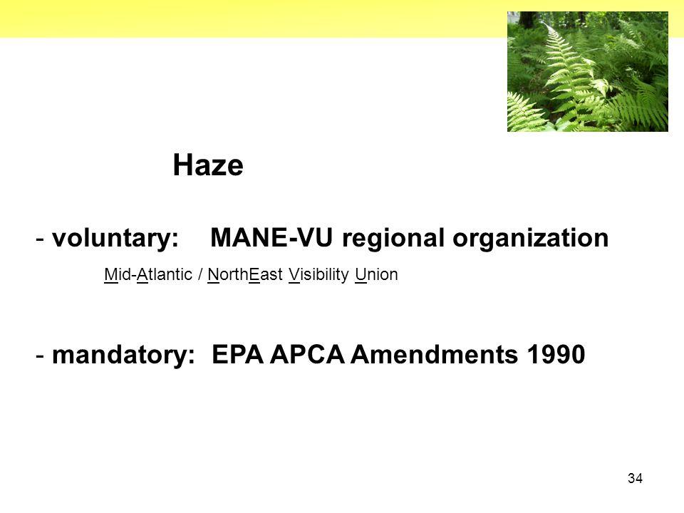 34 Haze - voluntary: MANE-VU regional organization Mid-Atlantic / NorthEast Visibility Union - mandatory: EPA APCA Amendments 1990