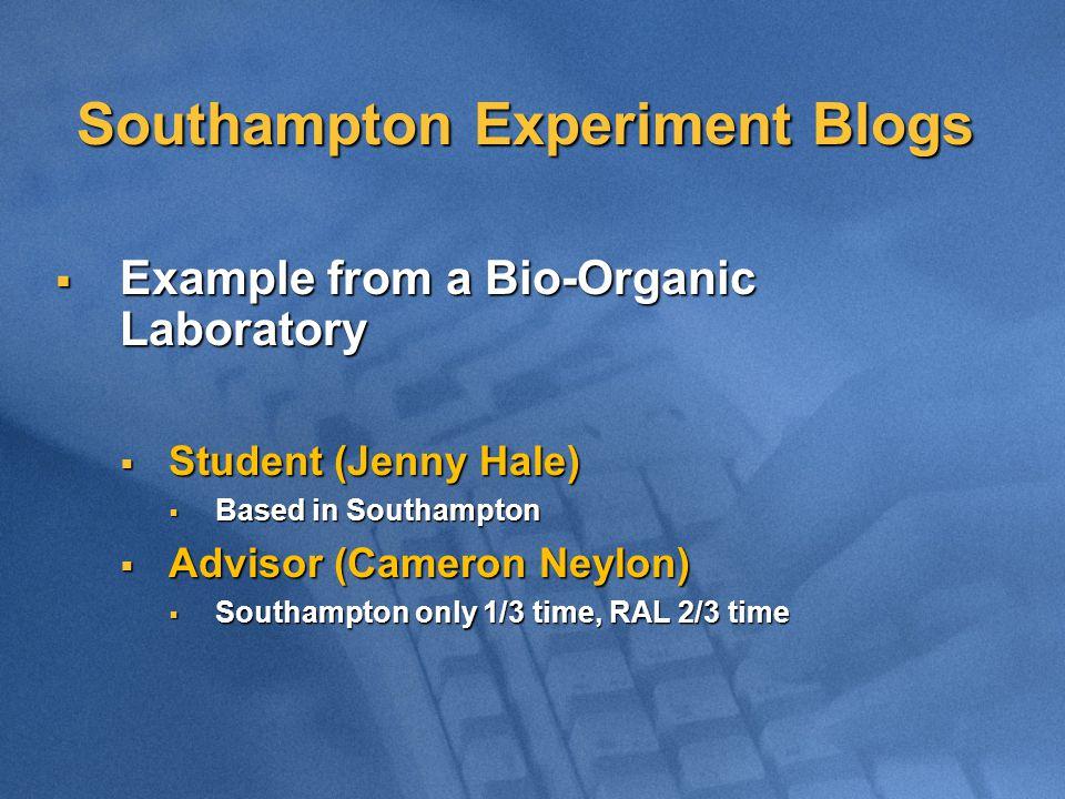 Southampton Experiment Blogs  Example from a Bio-Organic Laboratory  Student (Jenny Hale)  Based in Southampton  Advisor (Cameron Neylon)  Southa