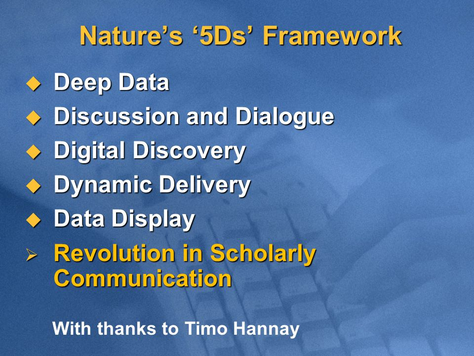 Nature's '5Ds' Framework  Deep Data  Discussion and Dialogue  Digital Discovery  Dynamic Delivery  Data Display  Revolution in Scholarly Communication With thanks to Timo Hannay