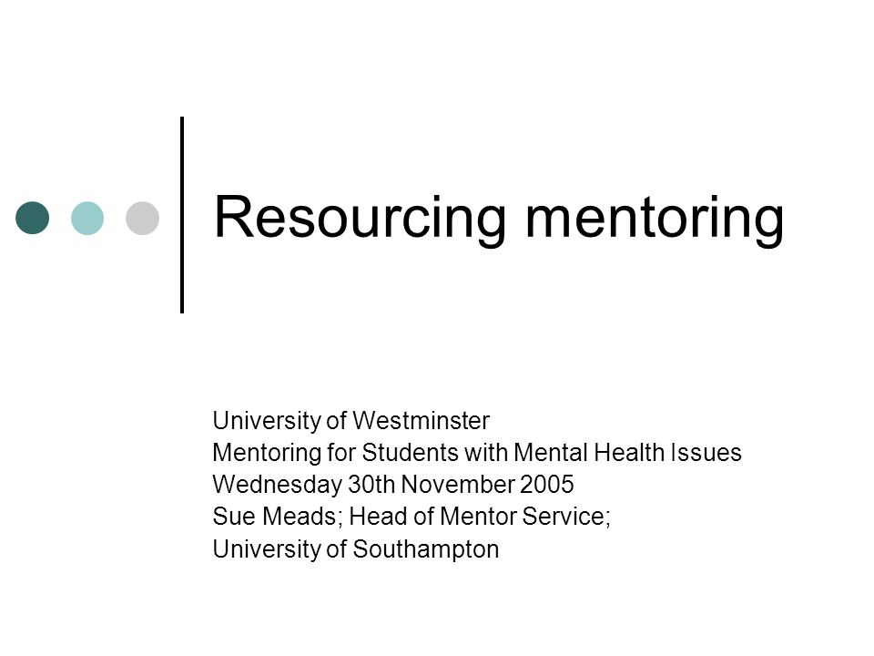 Focus of this presentation: Financial aspects of running a Mentor Service