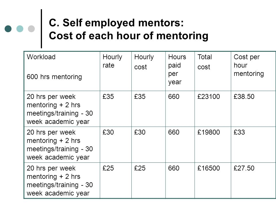 C. Self employed mentors: Cost of each hour of mentoring Workload 600 hrs mentoring Hourly rate Hourly cost Hours paid per year Total cost Cost per ho