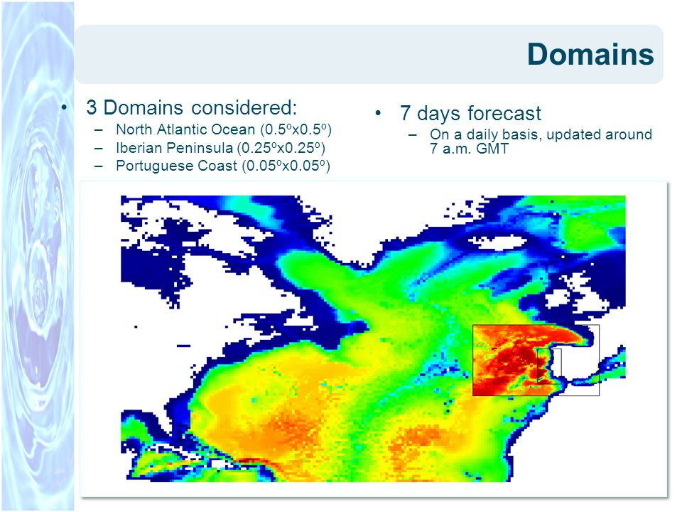 Domains 3 Domains considered: –North Atlantic Ocean (0.5ºx0.5º) –Iberian Peninsula (0.25ºx0.25º) –Portuguese Coast (0.05ºx0.05º) 7 days forecast –On a daily basis, updated around 7 a.m.