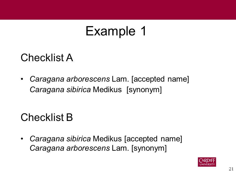 21 Example 1 Checklist A Caragana arborescens Lam.