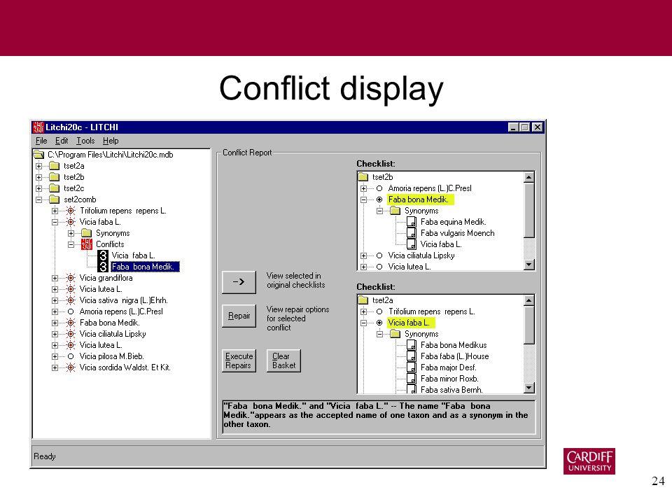 24 Conflict display