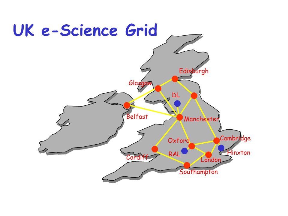 Cambridge Newcastle Edinburgh Oxford Glasgow Manchester Cardiff Southampton London Belfast DL RAL Hinxton UK e-Science Grid
