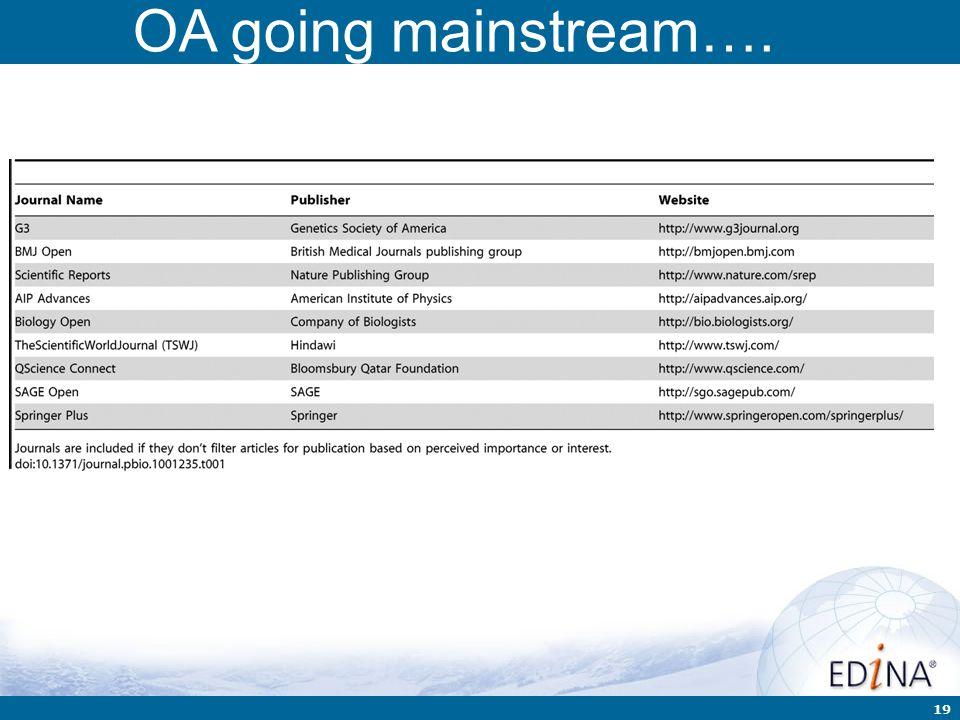 19 OA going mainstream….
