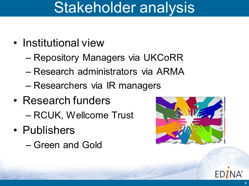 7 Stakeholder analysis Institutional view –Repository Managers via UKCoRR –Research administrators via ARMA –Researchers via IR managers Research fund