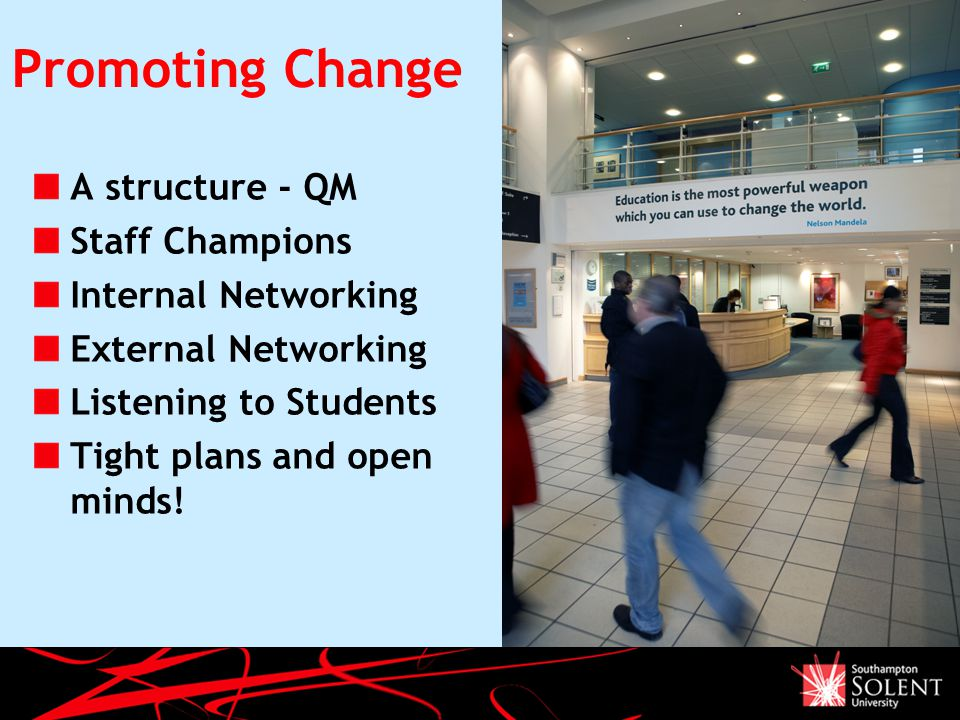 Promoting Change A structure - QM Staff Champions Internal Networking External Networking Listening to Students Tight plans and open minds.