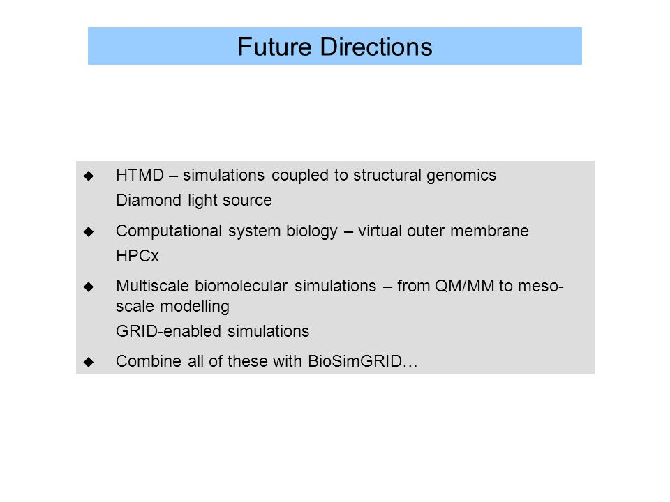 Future Directions u HTMD – simulations coupled to structural genomics Diamond light source u Computational system biology – virtual outer membrane HPCx u Multiscale biomolecular simulations – from QM/MM to meso- scale modelling GRID-enabled simulations u Combine all of these with BioSimGRID…