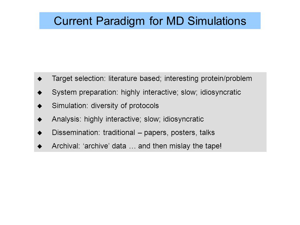 Current Paradigm for MD Simulations u Target selection: literature based; interesting protein/problem u System preparation: highly interactive; slow; idiosyncratic u Simulation: diversity of protocols u Analysis: highly interactive; slow; idiosyncratic u Dissemination: traditional – papers, posters, talks u Archival: 'archive' data … and then mislay the tape!