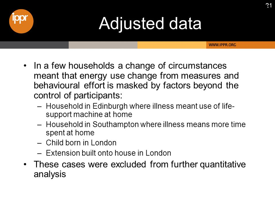 21 Adjusted data In a few households a change of circumstances meant that energy use change from measures and behavioural effort is masked by factors beyond the control of participants: –Household in Edinburgh where illness meant use of life- support machine at home –Household in Southampton where illness means more time spent at home –Child born in London –Extension built onto house in London These cases were excluded from further quantitative analysis