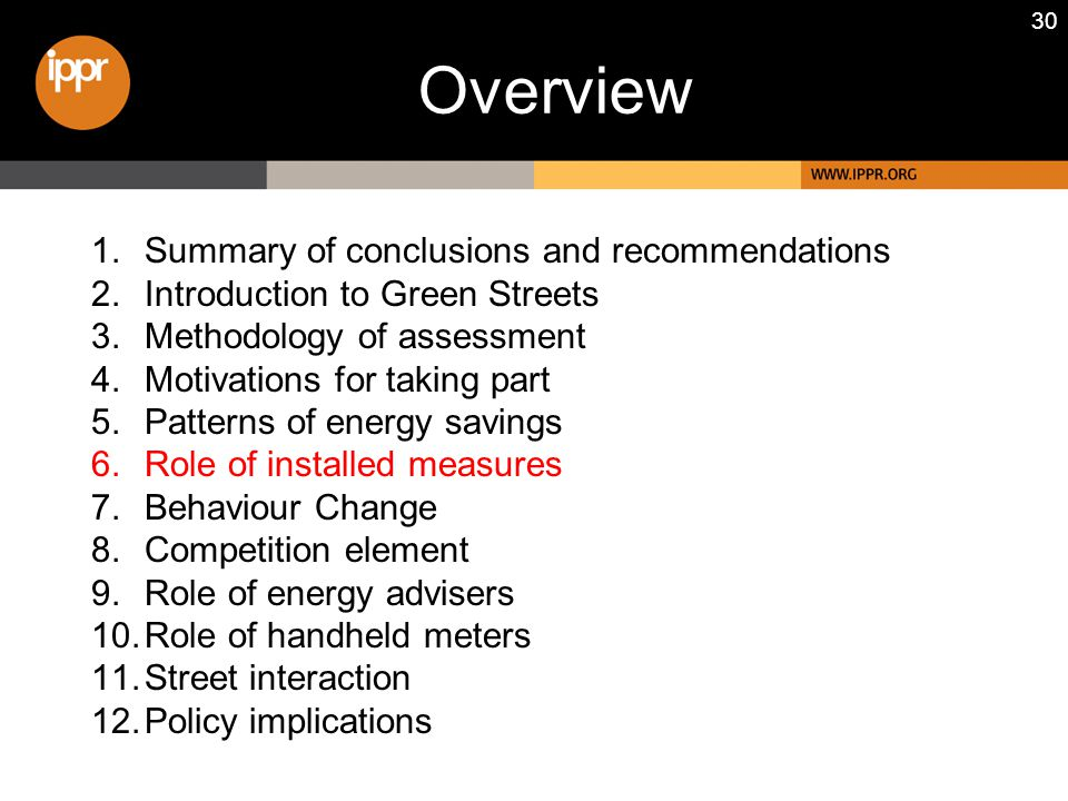 30 1.Summary of conclusions and recommendations 2.Introduction to Green Streets 3.Methodology of assessment 4.Motivations for taking part 5.Patterns o