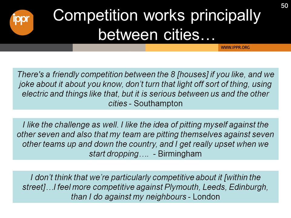 50 Competition works principally between cities… I don't think that we're particularly competitive about it [within the street]…I feel more competitiv